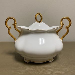Vintage Kitchen - Vintage RARE Royal Albert White Gold Creamer Sugar